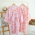 Nightgown / bathrobe female 160(M),165(L) Thin money Simplicity cotton More than 95% Medium length (knee to Mid Calf) Netting Plants and flowers youth printing 200g and below