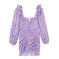 Dress Spring 2021 Taro purple S,M,L Short skirt singleton  Long sleeves commute square neck High waist Broken flowers puff sleeve 18-24 years old Type H Retro Ruffles, bandages, prints JIN030306 30% and below
