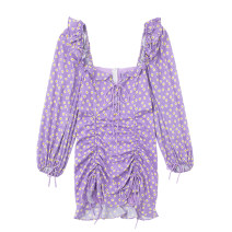 Dress Spring 2021 Taro purple S,M,L Short skirt singleton  Long sleeves commute square neck High waist Broken flowers puff sleeve 18-24 years old Type H Retro Ruffles, bandages, prints JIN030306 30% and below