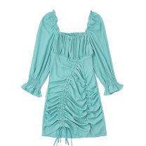 Dress Spring 2021 Lake Green XS,S,M,L Short skirt singleton  three quarter sleeve commute square neck High waist Solid color Socket One pace skirt pagoda sleeve 18-24 years old Type H Retro Ruffles, ruffles, folds, Auricularia auricula JIN010604