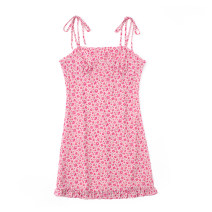Dress Summer 2021 Pink S,M,L Short skirt singleton  Sleeveless commute One word collar High waist Broken flowers Socket One pace skirt other camisole 18-24 years old Type H Retro Print, lace up JIN030403