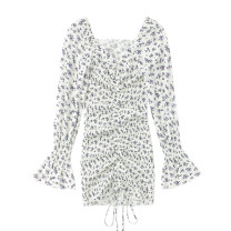 Dress Spring 2021 white S,M,L longuette singleton  Long sleeves commute square neck High waist Broken flowers One pace skirt pagoda sleeve Others 18-24 years old Type H Retro Print, lace up JIN030104