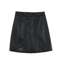 skirt Summer 2021 S,M,L black Short skirt Retro High waist A-line skirt Solid color Type A 18-24 years old JIN0411004 Irregular