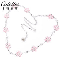 Belt / belt / chain other 2626 pink [one size fits all] 2626 white [one size fits all] female Waist chain Sweet Single loop Middle aged youth a hook Glossy surface Glossy surface 2.4cm alloy Inlaid diamond chain flower Catelles / carterles CTLS2626 Summer 2020