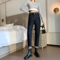Jeans Spring 2021 Blue black S,M,L,XL trousers High waist Haren pants routine 18-24 years old Zipper, button, multiple pockets, others Dark color Jie Huiting
