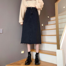skirt Spring 2021 S,M,L,XL black longuette commute High waist Denim skirt Solid color Type A 18-24 years old Denim Jie Huiting cotton pocket