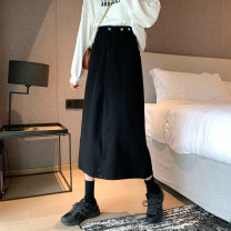 skirt Spring 2021 S,M,L,XL black longuette commute High waist A-line skirt Solid color Type A 18-24 years old Jie Huiting cotton pocket