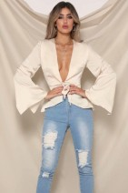Lace / Chiffon Autumn of 2018 White, green S,M,L Long sleeves street Cardigan singleton  Self cultivation Regular V-neck Solid color pagoda sleeve bow 71% (inclusive) - 80% (inclusive) Europe and America