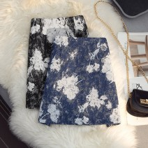 skirt Spring 2021 S,M,L,XL Black, blue Short skirt commute High waist A-line skirt Type A 25-29 years old 51% (inclusive) - 70% (inclusive) zipper Korean version