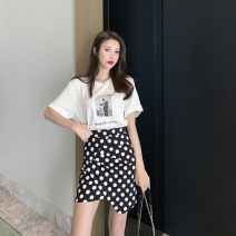 skirt Summer 2021 S,M,L,XL White suit (white T + polka dot skirt), single white T-shirt, single black polka dot skirt Short skirt commute High waist Irregular Dot Type A 25-29 years old O419 51% (inclusive) - 70% (inclusive) brocade cotton Asymmetry Korean version
