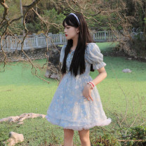 Dress Summer 2021 Pink dress blue dress white skirt S M L average code Short skirt singleton  Short sleeve commute square neck High waist Socket A-line skirt puff sleeve Others 18-24 years old Type A Amy it girl Korean version W1052 More than 95% other other Other 100% Pure e-commerce (online only)