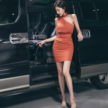 Dress Summer 2020 Black, brick red S,M,L Short skirt singleton  Sleeveless commute stand collar middle-waisted Solid color A button other other Hanging neck style 25-29 years old Type H fold More than 95% other polyester fiber