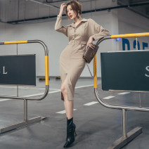 Dress Spring 2021 khaki S,M,L Mid length dress singleton  Long sleeves commute Polo collar High waist Solid color zipper One pace skirt routine Others 25-29 years old Type X Button, zipper LB4581 31% (inclusive) - 50% (inclusive) other polyester fiber