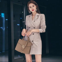 Dress Autumn of 2019 khaki 155/S,160/M,165/L Short skirt singleton  Long sleeves commute tailored collar High waist stripe double-breasted One pace skirt routine Others 25-29 years old Type O Button LB3122 81% (inclusive) - 90% (inclusive) other polyester fiber