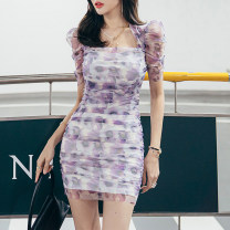 Dress Summer 2021 Decor S,M,L Short skirt singleton  Long sleeves V-neck Dot Single breasted Pencil skirt raglan sleeve Others 25-29 years old Type X Button LD6205 91% (inclusive) - 95% (inclusive) other polyester fiber