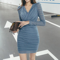Dress Spring 2021 Haze blue S,M,L Short skirt singleton  Long sleeves commute V-neck High waist Solid color zipper One pace skirt routine 25-29 years old Type H Pleats, zippers LC4993 81% (inclusive) - 90% (inclusive) other nylon