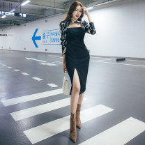 Dress Winter 2020 black S,M,L Mid length dress singleton  Long sleeves commute other middle-waisted Decor A button Pencil skirt routine Others 25-29 years old Type X Korean version Splicing More than 95% other polyester fiber