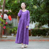 Dress Spring 2021 Red, purple M, L longuette singleton  Long sleeves commute Crew neck Loose waist Solid color Socket Big swing routine Others 35-39 years old Type A Chaos in the south of the Yangtze River ethnic style 51% (inclusive) - 70% (inclusive) other cotton
