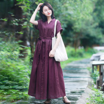Dress Spring 2021 Short sleeve, long sleeve M, L longuette singleton  Short sleeve commute V-neck High waist Solid color other A-line skirt Sleeve Others 35-39 years old Type A Chaos in the south of the Yangtze River ethnic style 91% (inclusive) - 95% (inclusive) other hemp