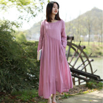 Dress Spring 2021 Picture color M, L longuette singleton  Long sleeves commute Crew neck High waist Decor Socket Big swing routine Others 30-34 years old Type A Chaos in the south of the Yangtze River literature Fold, pocket, lace up T0151 30% and below other hemp