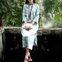 Dress Spring 2021 wathet Average size Mid length dress singleton  elbow sleeve commute stand collar Loose waist Decor Single breasted A-line skirt routine Others 30-34 years old Type H Chaos in the south of the Yangtze River ethnic style Button, print 81% (inclusive) - 90% (inclusive) other hemp
