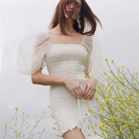 Dress Spring 2021 white S,M,L Short skirt singleton  Short sleeve street square neck High waist Solid color zipper A-line skirt puff sleeve Others 18-24 years old Type H Ruffles, folds, stitching, gauze 91% (inclusive) - 95% (inclusive) other polyester fiber Europe and America