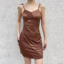 Dress Spring 2021 Khaki, purple, light brown S,M,L Short skirt singleton  Sleeveless street V-neck High waist Solid color Socket One pace skirt routine camisole 18-24 years old Type A sisterlinda backless K20D11011 91% (inclusive) - 95% (inclusive) polyester fiber Europe and America