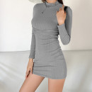 Dress Winter 2020 Gray, black S,M,L Short skirt singleton  Long sleeves street Crew neck High waist Solid color Socket One pace skirt routine 18-24 years old Type H sisterlinda Splicing K20D09509 91% (inclusive) - 95% (inclusive) polyester fiber Europe and America