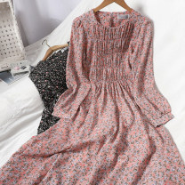 Dress Spring 2021 White, black, yellow, pink Average size longuette singleton  Long sleeves commute Crew neck High waist Broken flowers A button Big swing puff sleeve Type A lady 81% (inclusive) - 90% (inclusive) Chiffon