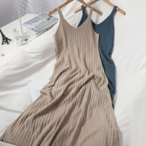 Dress Autumn 2020 Average size longuette singleton  Sleeveless commute V-neck High waist Solid color Socket Big swing other camisole Type A Korean version 81% (inclusive) - 90% (inclusive) knitting