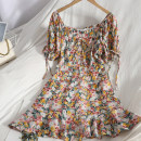 Dress Spring 2021 Purple, blue, orange S,M,L Mid length dress singleton  Short sleeve Sweet square neck High waist Broken flowers Socket Ruffle Skirt puff sleeve 18-24 years old Type A Bow, ruffle, lace 71% (inclusive) - 80% (inclusive) college