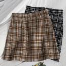 skirt Spring 2021 S,M,L Khaki, black Short skirt Versatile High waist A-line skirt lattice Type A 18-24 years old 71% (inclusive) - 80% (inclusive) other