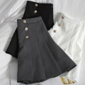 skirt Spring 2021 S,M,L,XL White, black, grey Short skirt Versatile High waist Pleated skirt Solid color Type A 18-24 years old 71% (inclusive) - 80% (inclusive) other Button, zipper