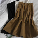 skirt Spring 2021 Average size White, apricot, black, dark gray, camel, navy Mid length dress Versatile High waist High waist skirt Solid color Type A 18-24 years old 71% (inclusive) - 80% (inclusive) other Button