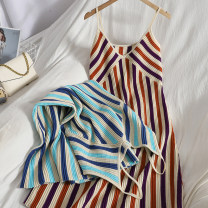 Dress Spring 2021 Blue, red Average size longuette singleton  Sleeveless commute V-neck High waist stripe Socket One pace skirt other camisole 18-24 years old Type A lady backless 81% (inclusive) - 90% (inclusive) knitting