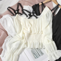 Lace / Chiffon Spring 2021 Apricot, white, black Average size Long sleeves Versatile Socket singleton  Self cultivation have cash less than that is registered in the accounts square neck other puff sleeve Lotus leaf edge 81% (inclusive) - 90% (inclusive)