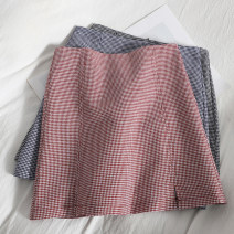 skirt Spring 2021 S,M,L,XL Pink, black, blue Short skirt Versatile High waist A-line skirt lattice Type A 18-24 years old 71% (inclusive) - 80% (inclusive) other