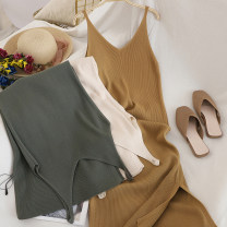 Dress Autumn of 2019 Gray, green, blue, off white, black, light card, dark coffee Average size longuette singleton  Sleeveless commute V-neck High waist Solid color Socket A-line skirt other camisole Type A Korean version 81% (inclusive) - 90% (inclusive) knitting