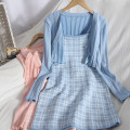 Dress Spring 2021 White, black, blue, pink Average size Mid length dress Two piece set Sleeveless Sweet High waist lattice Socket A-line skirt other camisole 18-24 years old Type A 81% (inclusive) - 90% (inclusive) knitting college