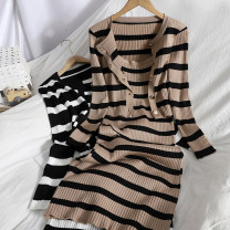 Dress Spring 2021 Flower card, black and white Average size longuette Two piece set Sleeveless commute High waist stripe Socket One pace skirt other camisole Type A Korean version Button 81% (inclusive) - 90% (inclusive) knitting