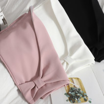 skirt Spring 2021 S,M,L,XL White, black, pink Short skirt Versatile High waist Irregular Solid color Type A 18-24 years old 71% (inclusive) - 80% (inclusive) other Bow, zipper