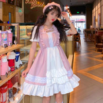 Dress Summer of 2019 Picture color Average size Middle-skirt singleton  Short sleeve Sweet Loose waist Solid color A-line skirt routine Others 18-24 years old Type A Other / other 51% (inclusive) - 70% (inclusive) solar system