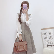 Fashion suit Autumn of 2019 Average size White shirt D, girdle plaid skirt G 18-25 years old Other / other 30% and below