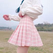 skirt Summer of 2018 S,M,L Light blue, dark gray, light pink Short skirt Sweet High waist Pleated skirt lattice Type A Under 17 More than 95% Other / other polyester fiber solar system