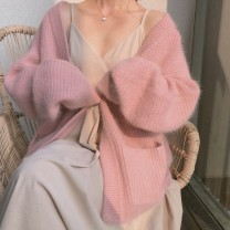 Wool knitwear Winter 2021 Average size Apricot, blue, camel, white, pink Long sleeves singleton  Cardigan other 30% and below Regular thickening commute easy V-neck Bat sleeve Solid color Retro 18-24 years old NiHut pocket