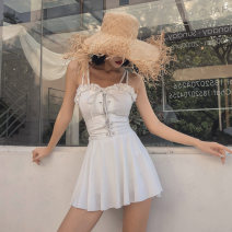 one piece  special counter M,L,XL White, black, orange Skirt one piece No chest pad Others, polyester, spandex, nylon female Sleeveless Casual swimsuit Solid color backless