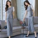 Fashion suit Summer 2020 M. L, XL, XXL, send exquisite belt, fashion luxury two-piece set Yellow (top + pants), blue grey (top + pants), yellow (single top), blue grey (single top), yellow (single pants), blue grey (single pants) XC-107-SSED-J