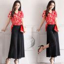 Fashion suit Summer 2020 M. L, XL, XXL, XXXL, Q send exquisite belt, fashionable and elegant two-piece set Black flower (coat + trousers), red flower (coat + trousers), black flower (single coat), red flower (single coat) 25-35 years old XC-1058-SNX-J