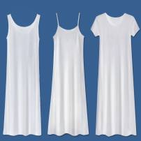 Dress Summer 2020 M,L,XL,2XL longuette singleton  Short sleeve commute Crew neck High waist Solid color Socket A-line skirt routine camisole Type A Other / other Korean version 81% (inclusive) - 90% (inclusive) knitting modal