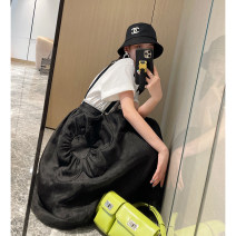 skirt Summer 2021 S,M,L black Short skirt street High waist A-line skirt Solid color Type A More than 95% Nancycavally cotton Europe and America